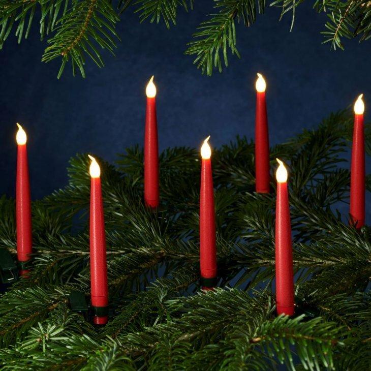 Sirius Carolin juletræslys røde - 10 stk. i pakningen