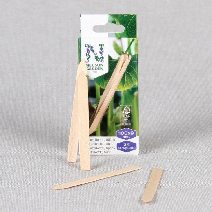 Stiketiketter i FSC træ 10 cm, 24 stk.