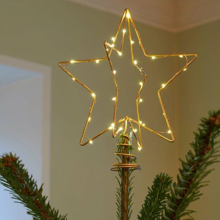 Sirius Christina Topstjerne guld H25 cm med 30 LED til batteri