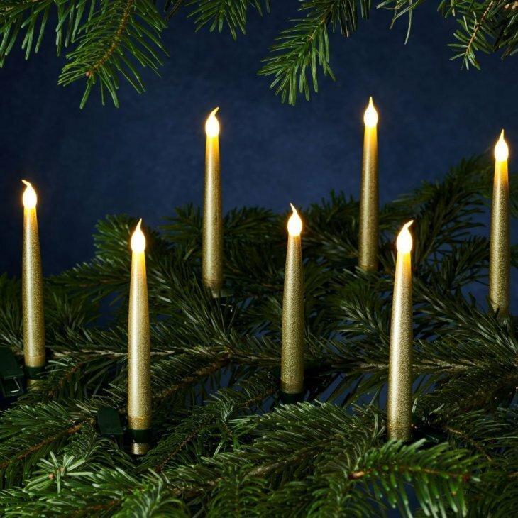 Sirius Carolin juletræslys guld - 10 stk. i pakningen