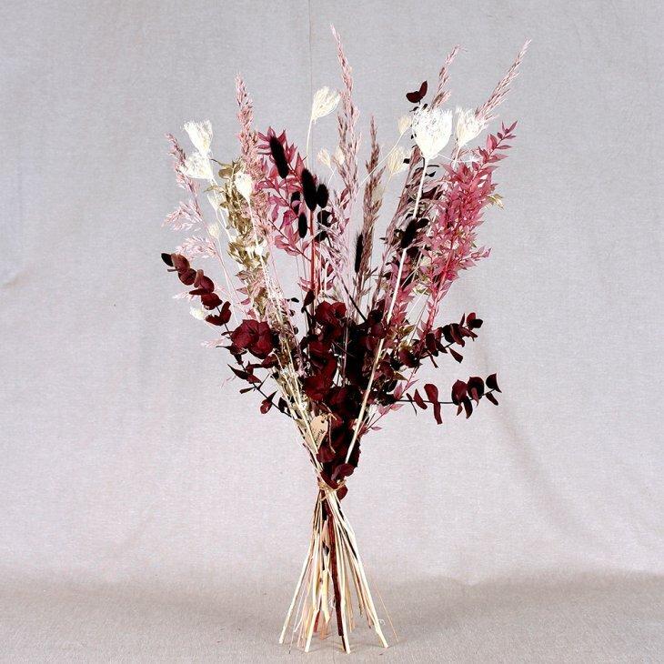 Tørret buket i bordeaux, rosa, hvid med strejf af guld