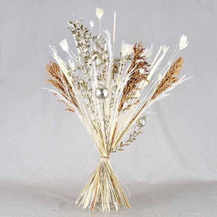 Tørret buket i sølv, hvid og guld