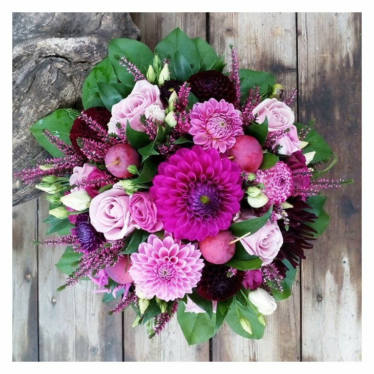 Buket, Rokoko i lilla, rosa og bourdeaux