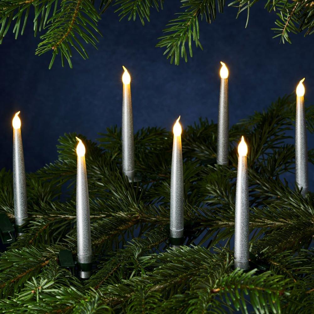 Sirius Carolin juletræslys sølv - 10 stk. i pakningen