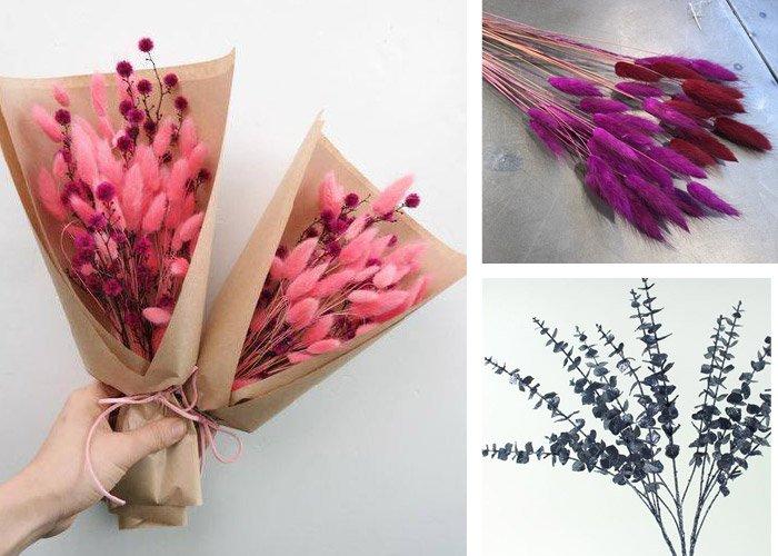 Tørrede blomster med farve