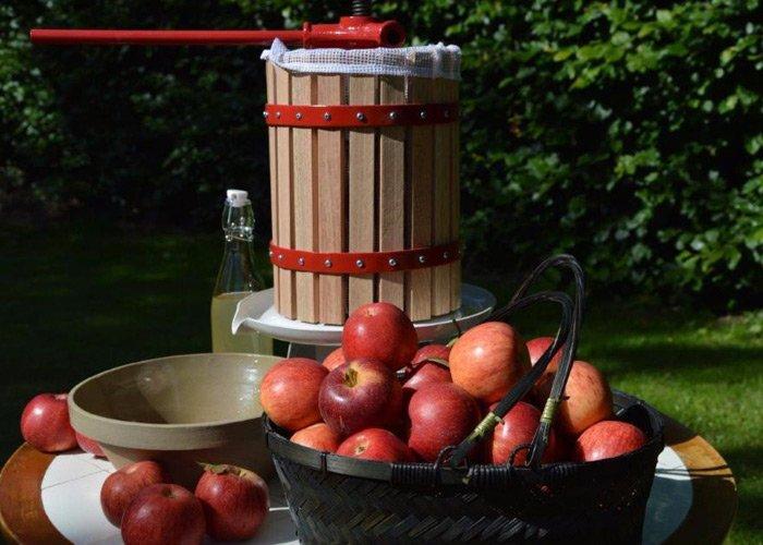Æbler og æblepresse