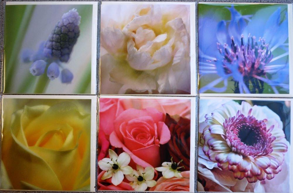 Kort med blomster 12 x 12 cm