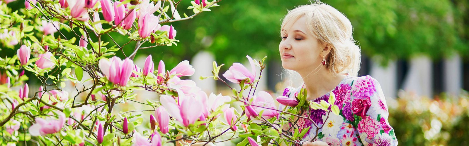 Kvinde dufter til magnoliatræ
